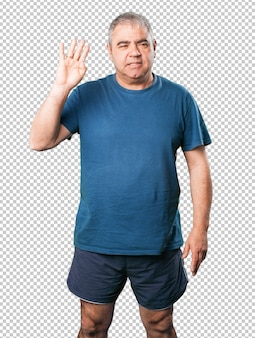 Homme d'âge mûr numéro quatre geste