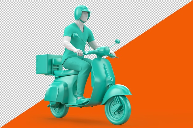 Homme au casque conduisant un tracé de détourage de scooter vintage