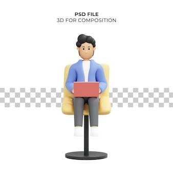 Homme aux cheveux bouclés travaillant assis sur une chaise à l'aide d'une illustration 3d de pigiste pour ordinateur portable psd premium