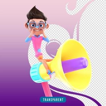 Homme de caractère 3d avec mégaphone