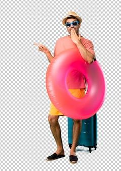 Homme avec chapeau et lunettes de soleil sur ses vacances d'été pointant le doigt sur le côté et présentant un produit avec un visage surpris tout en se couvrant la bouche