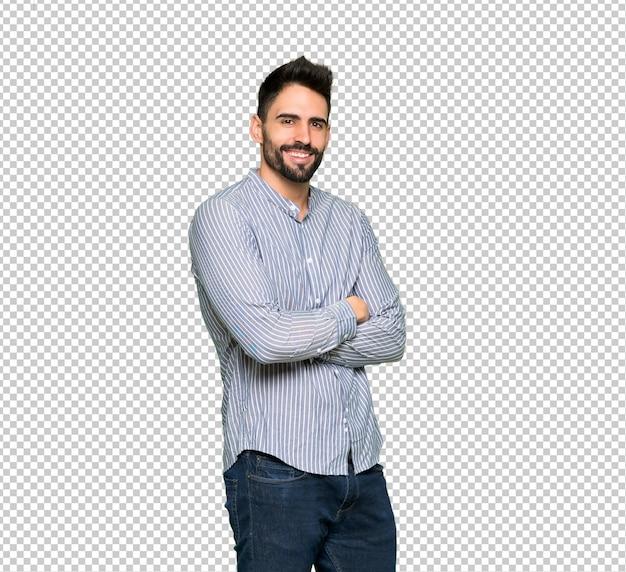 Homme élégant avec une chemise à bras croisés et impatient