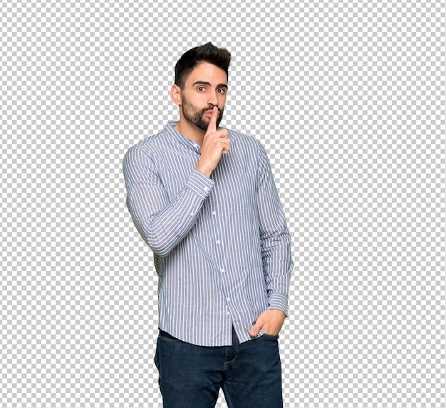 Homme élégant avec une chemise montrant un geste du silence mettant un doigt dans la bouche
