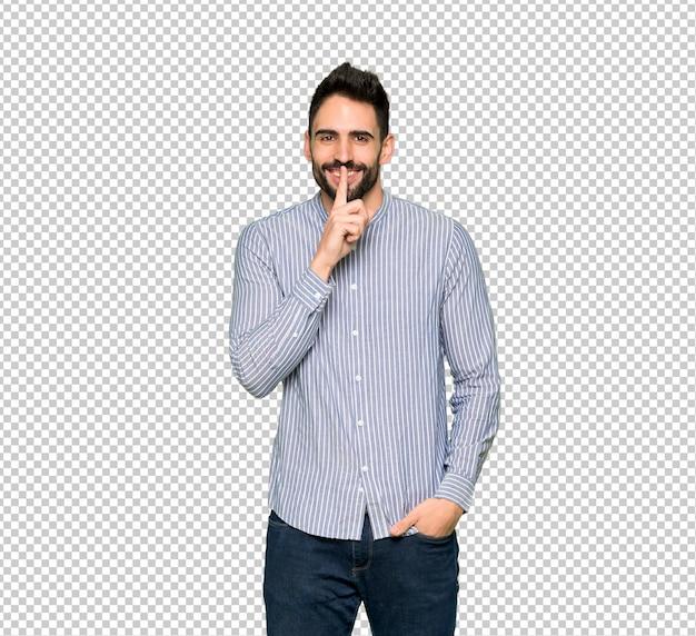 Homme élégant avec une chemise montrant un signe de geste de silence