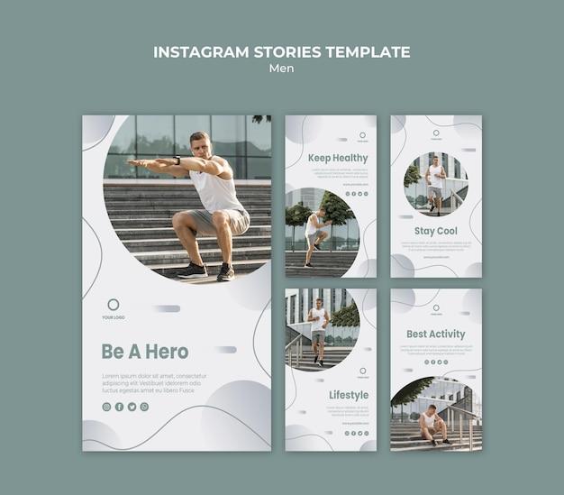Homme faisant ses histoires instagram d'entraînement