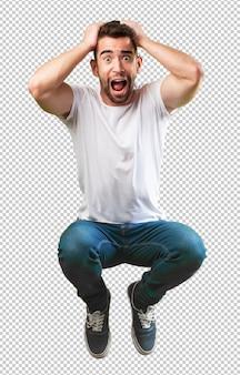 Homme fou sautant