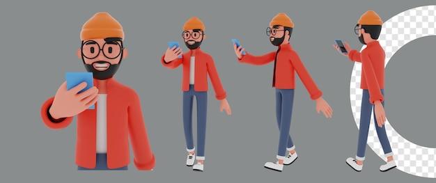 Homme marchant dessin animé rendu 3d