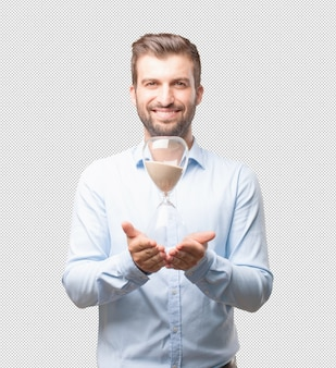 Homme moderne, tenue, verre eau