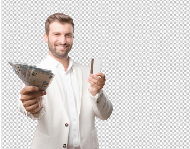 Homme Montrant Des Factures De 20 Euros Et Carte De Crédit PSD Premium