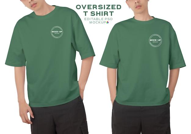 Homme portant une maquette de t-shirt surdimensionné à col rond pour votre conception.