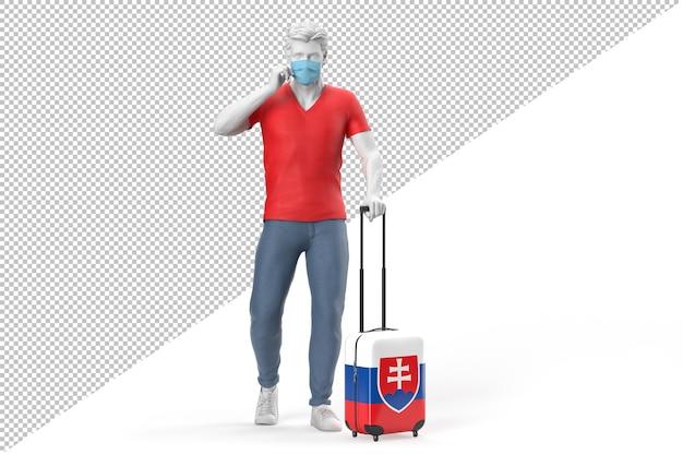 Un homme portant un masque facial tire une valise texturée avec le drapeau de la slovénie. illustration 3d