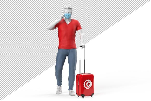 Un homme portant un masque facial tire une valise texturée avec le drapeau de la tunisie. illustration 3d