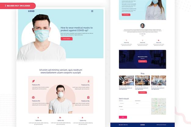 Homme portant un masque pour protéger la conception de la page du site web corona-19