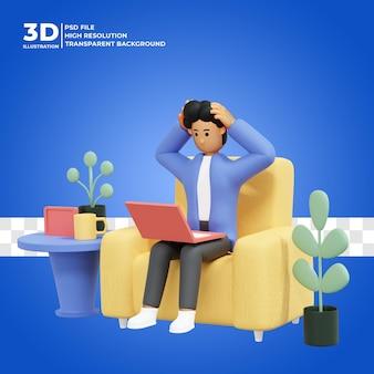 Homme qui travaille assis sur une chaise à l'aide d'un ordinateur portable pigiste triste illustration 3d étourdie psd premium