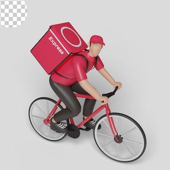 Homme de service de livraison à vélo. psd premium