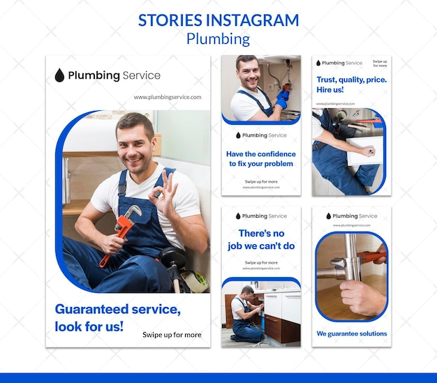 Homme travaillant comme plombier instagram stories