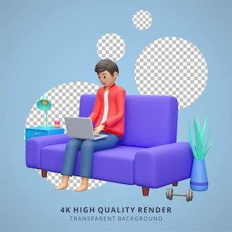 Homme travaillant sur ordinateur portable rester à la maison illustration rendu 3d de haute qualité
