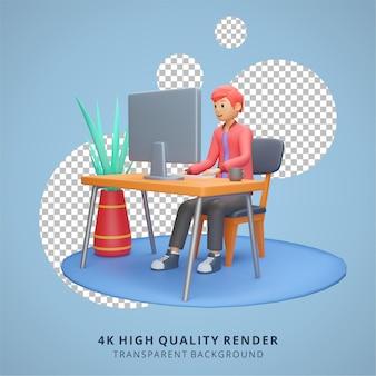 Un homme travaille devant un ordinateur rester à la maison illustration rendu 3d de haute qualité