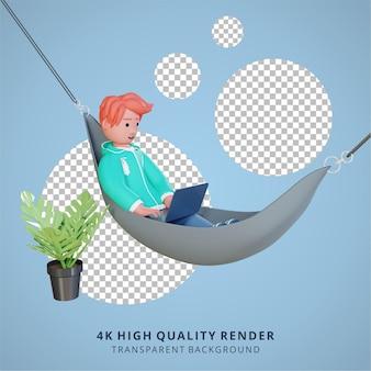 Un homme travaille avec un ordinateur portable rendu 3d de haute qualité à partir d'une illustration à domicile