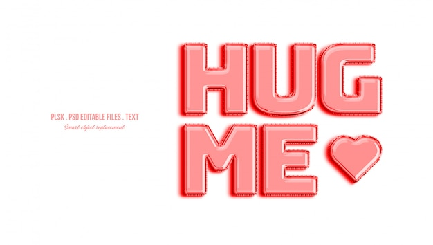 Hug me 3d effet de style de texte