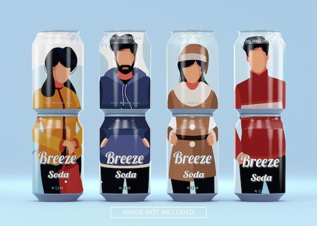 Huit canettes de bière debout, le soda peut être maquette pour le logo de la marque ou l'autocollant