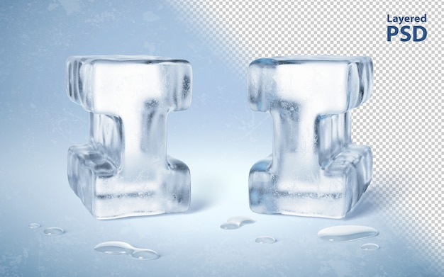Ice cube 3d rendu lettre i