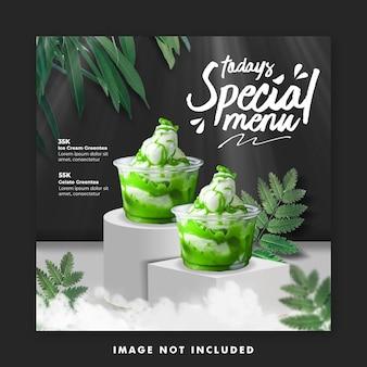 Icecream menu modèle instagram de bannière de publication de médias sociaux pour la promotion