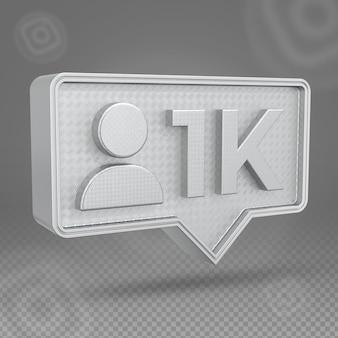 Icône 3d d'abonnés instagram 1k en argent