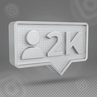 Icône 3d d'abonnés instagram 2k d'argent