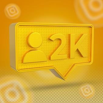 Icône 3d d'abonnés instagram 2k d'or
