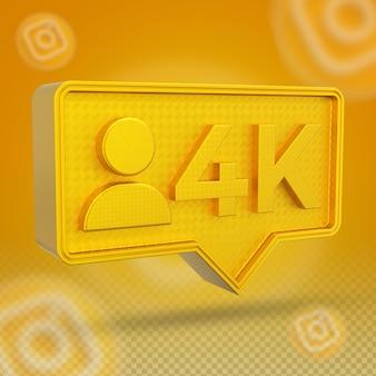 Icône 3d des abonnés instagram 4k dorés