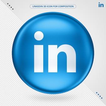 Icône 3d bleu ellipse logo linkedin