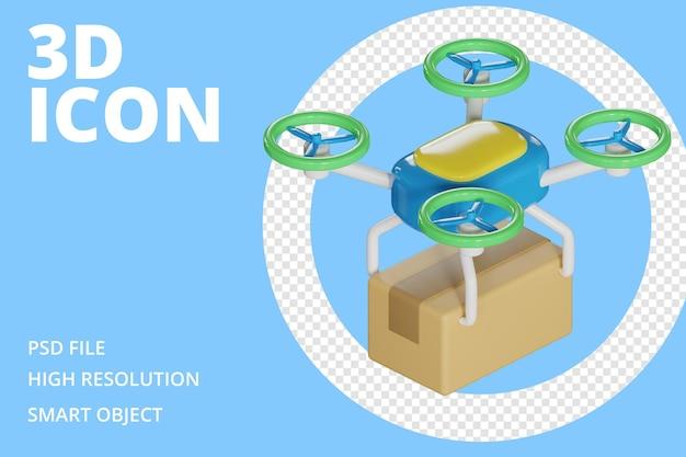 Icône 3d de la boîte de livraison de drone