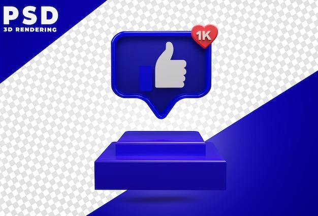 Icône 3d avec comme facebook podium rendu isolé