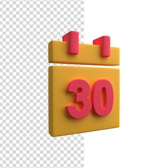 Icône 3d du calendrier organisateur avec 30 jours du mois. icône de calendrier 3d.