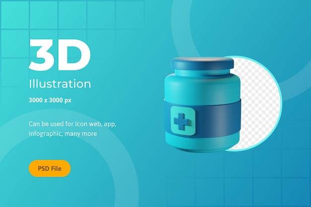 Icône 3d illustration, santé, médecine, pour le web, l'application, l'infographie