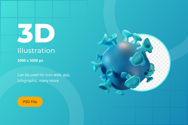 Icône 3d illustration, santé, virus, pour le web, l'application, l'infographie