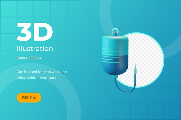 Icône 3d illustration, soins de santé, perfusion, pour le web, l'application, l'infographie