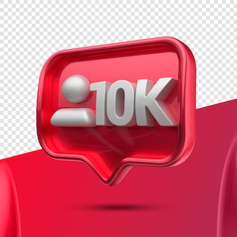Icône 3d instagram 10k abonnés à droite