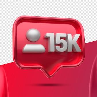 Icône 3d instagram 15k abonnés restants