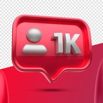 Icône 3d instagram 1k abonnés restants