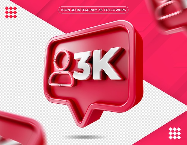 Icône 3d instagram 3k isolé