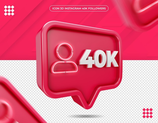 Icône 3d instagram 40k abonnés