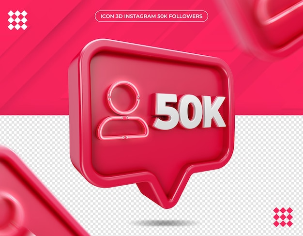 Icône 3d instagram 50k abonnés