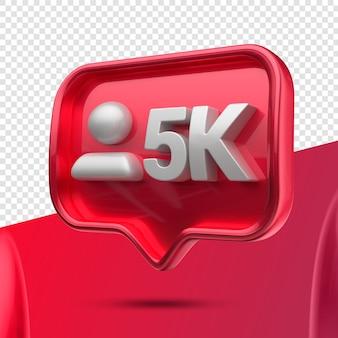 Icône 3d instagram 5k abonnés à droite