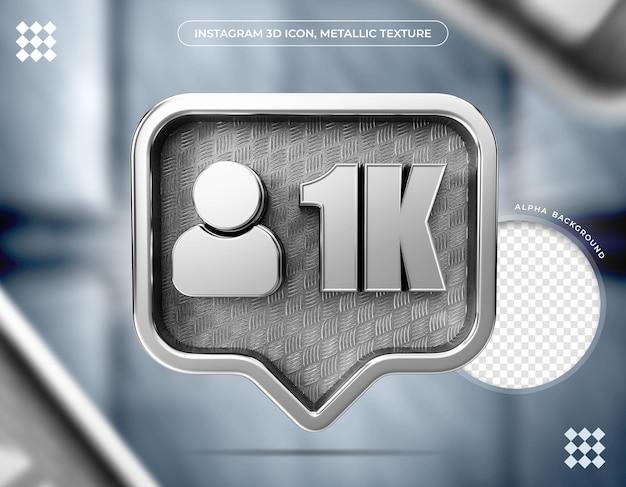 Icône 3d instagram texture métallique 1k suiveur