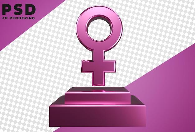 Icône 3d avec isolat de sexe féminin