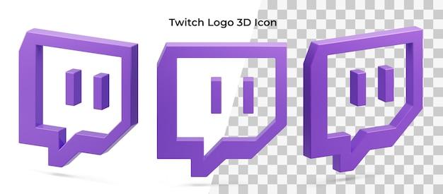 Icône 3d isolé actif de trois logo twitch flottant