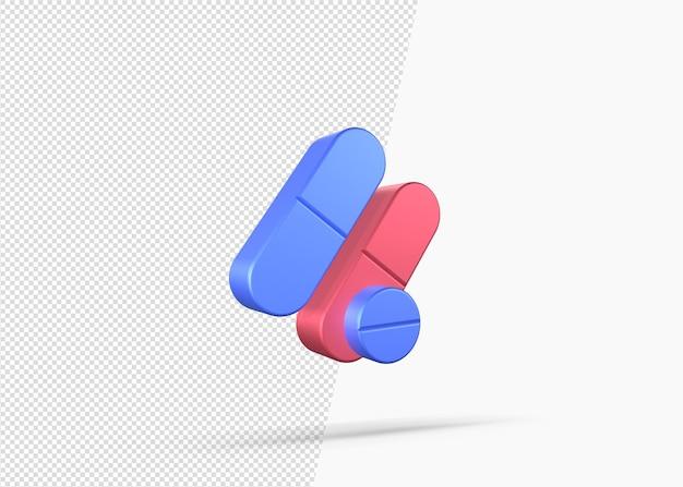 Icône 3d isolé de concept de drogue réaliste