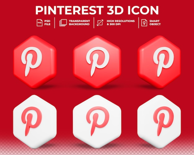 Icône 3d isolé de médias sociaux pinterest moderne